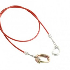 (Ref 290D) Breakaway cable  Ring  & Carbine clip 2.40 mm sheathed cable red 1 mtr long Caravan Trailer