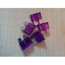 (Ref FB003) 5 x  Professional quality automotive blade fuse 3amp Purple